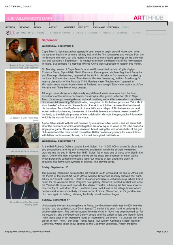 Sue Williamson 'Sue Williamson's Diary' Artthrob