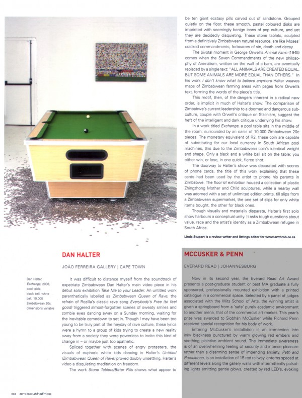 Linda Stupart, Review, Art South Africa