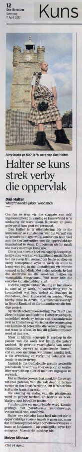 Melvyn Minnaar Die Burger 7 April 2012 pg12