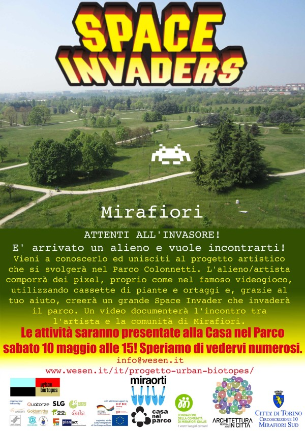 Italian Space Invader poster for 9 Urban Biotopes