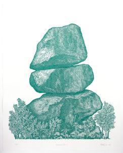 Domboremari, balancing rocks, lino cut, Zimbabwe