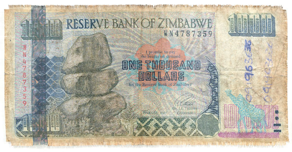 Hand woven Z$1000 from Zimbabwe